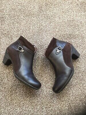 Ladies Dark Brown Leather& Suede Ankle Boots Size7