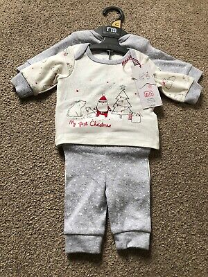 Mothercare Baby Girls Boys My First Christmas Pyjamas New Baby Newborn