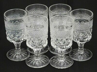 6 Anchor Hocking Wexford Diamond Pressed Glass Formal Table Juice Wine Goblets