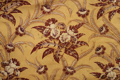 Antique Fabric Fragment 1830 Madder French Floral Pieced & Patched Faded Textile