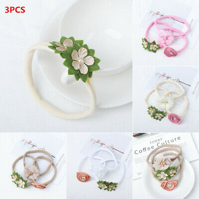 Baby Girls Bow Knot  Pearl Flower Baby Headband Hair Accessories Nylon Hairband