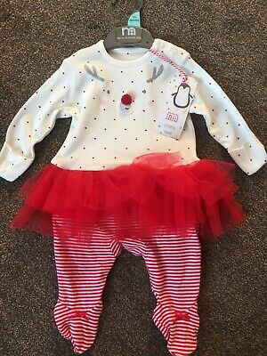 Mothercare Christmas Reindeer All In One Baby Girls Tutu Pom Pom Up To 1-3months