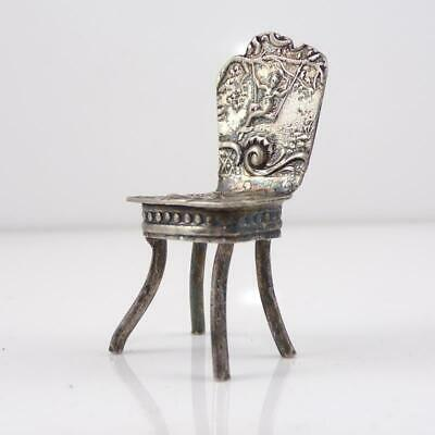 VTG Antique Victorian Sterling Silver Miniature Doll House Chair Furniture LFK3