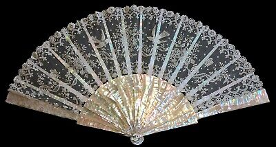 Vintage MOTHER of PEARL and LACE FAN, Birds and Flowers motif (with some damage)