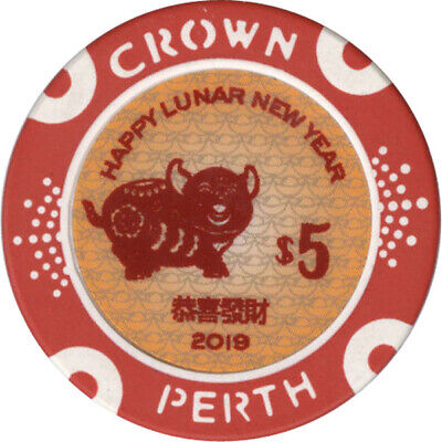 Crown Perth Casino - Year of the Pig - $5 Casino Chip