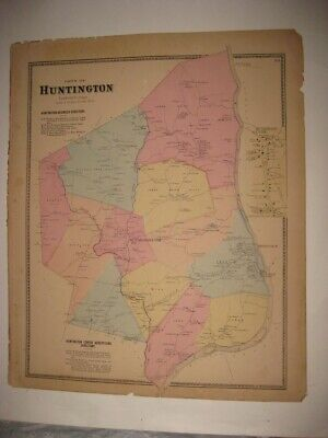 ANTIQUE 1867 HUNTINGTON now SHELTON FAIRFIELD COUNTY CONNECTICUT HANDCOLORED MAP