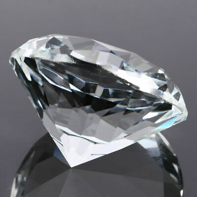 """80mm/3.15""""Large Glass Crystal Diamond Shaped Paperweight Clear Jewel Home Decor"""