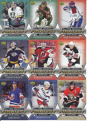 2005-06 Upper Deck All-Time Greatest Finalist 9-Card Lot Brodeur Bossy Theodore