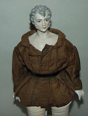 RARE ANTIQUE China Head Doll DRESSEL & KISTER? Man GRAY HAIR Half Doll Related