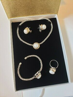 925 Sterling Silver with Gold 9K Jewelry Set (Ring Size 8)