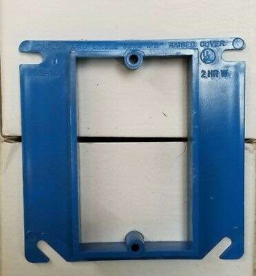 Carlon A411 Outlet Box Cover Raised Blue 4-Inch Square 1 Gang