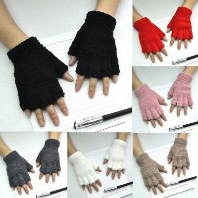 Unisex Gloves Mitten Fingerless Fleece Half-Fingers Fuzzy Adult Warm Winter