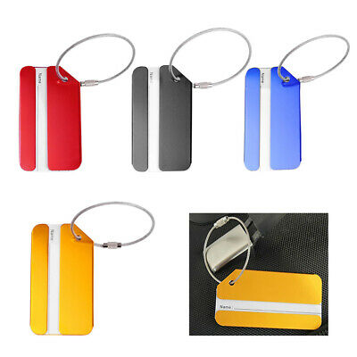 4x Aluminium Metal Travel Luggage Tag Baggage Suitcase Bag ID Address Name Label