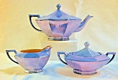 Vintage Art Deco Retro Lusterware Teapot Set Creamer Sugar Blue Japan Octagon