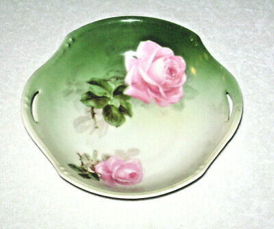 Antique ca. 1910 Porcelain Pink Roses Dish by RS Germany Pierced Handles