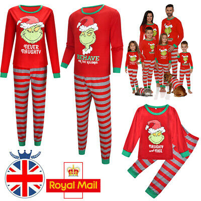 Family Matching Adult Kids Christmas Pyjamas Xmas Nightwear Pajamas PJs Sets UK
