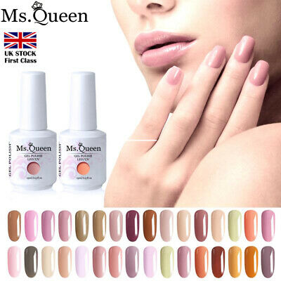 MS. QUEEN  Nude Beige Gel Nail Polish No Wipe Top Base Coat Lacquer Manicure