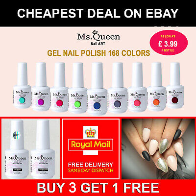 Ms Queen 15ml Glitter Gel Nail Polish No Wipe Top Base Coat Manicure Lacquer 01