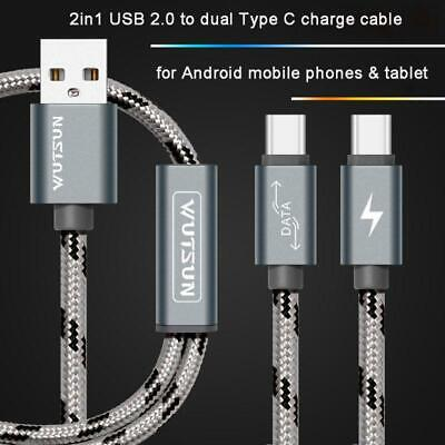 USB 2.0 Type A Male To Dual USBC Type C Male Splitter Y Fast Charging Data Cable