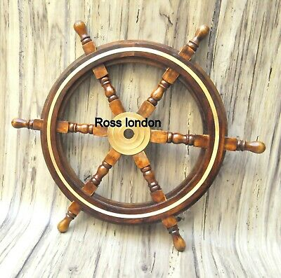 """Nautical Wooden Ship Wheel Pirate Ring Captain Brass Boat Steering Maritime 24"""""""