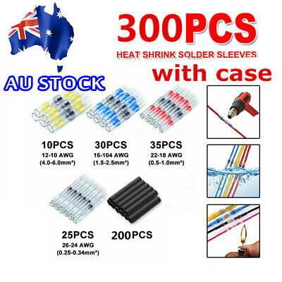 300X Waterproof Solder Seal Sleeve Heat Shrink Butt Wire Connector Terminal Tube