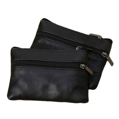 Unisex PU Leather Small Coin Key Card Holder Zip Wallet Pouch Mini Purse Bag LC