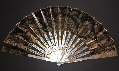 Rare Antique Chinese Carved Mother Of Pearl Gold Gilt Fan Bird Scene