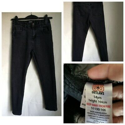 Urban 65 Outlaws Girls Black Cotton Jeans Age 14(582)