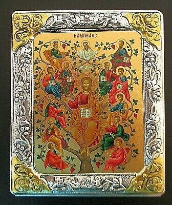"""Orthodox Wood Icon """"St Nicholas The Miracle Worker"""", Sterling Silver Frame #21"""