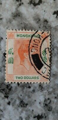 HONG KONG1938 King George VI SG157 $2  stamp Fine Used SEE SCANS.