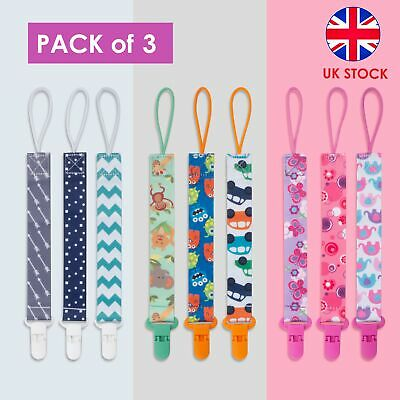 UK 3Pack Lovely Dummy Clips Baby Pacifier/Soother Clips Also Fits Teething Toys