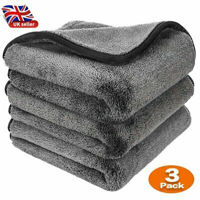 Microfibre Car Drying Towels Absorbent Large Car Cleaning Cloths Plush Thick UK