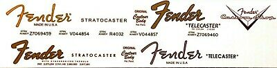4 Sets! 2 Fender Stratocaster and 2 Telecaster headstock decals + 1 Custom Shop