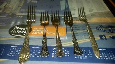 6 Antique Silver forks and 7 knives signed/stamped