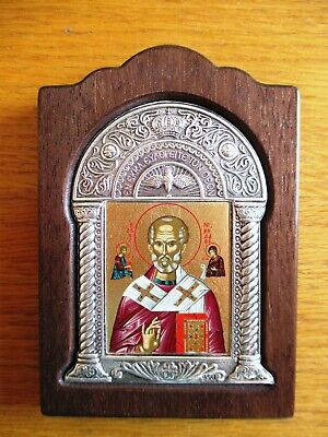 """Orthodox Wood  Signed Byzantine Icon """"St. Nicholas The Miracle Worker"""""""