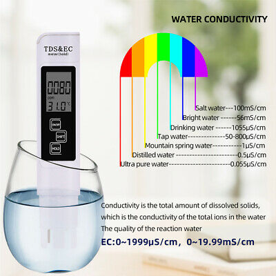 Digital TDS EC TEMP Meter Water Quality Tester Purity Filter Pen 0-9990 ppm New