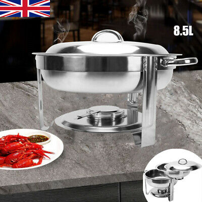 8.5L Stainless Steel Food Warmer Tray Round Buffet Stove Chafing Dish Set New