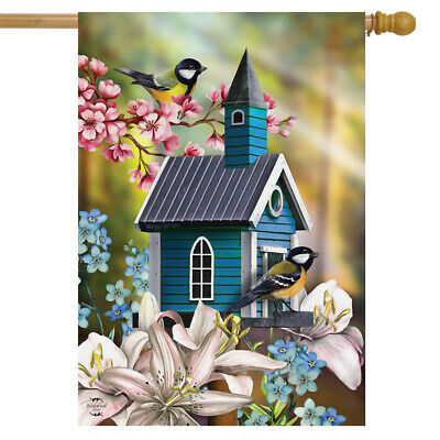 """Blessed Birdhouse Spring House Flag Bless Our Nest Floral Butterfly 28/"""" x 40/"""""""