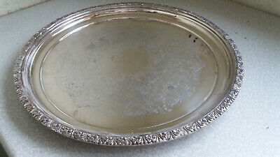 """Vintage Large Round Ornate Silver Plated Serving Tray - Dragooned Edge -15""""   1"""