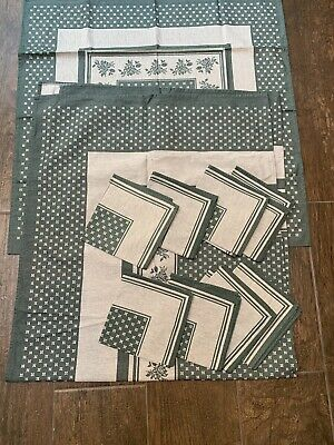 New Green Grey Reversible Table Cloth Napkins Linen Set 8 Seater Larger