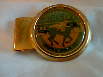 Men Jewelry Turf Club Money Clip Cripple Creek $25.00 Casino Chip