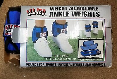 All Pro Adjustable Ankle Weight 5 lb pair 2.5 lb each