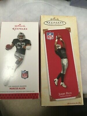 2 Hallmark Christmas tree ornament Oakland raiders nfl Marcus Allen jerry rice