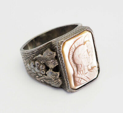 Antique sterling silver carved shell Roman warrior intaglio men women ring 9.5