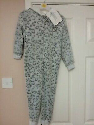 Girls Grey All In One, Hooded  Sleepsuit With Ears Age 5-6, Bnwt