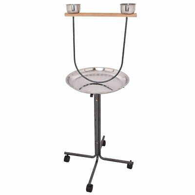 """51"""" Bird Parrot Play Stand Perch with Pan Feeding Cups"""