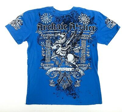 Archaic Affliction Mens 2XL Short Sleeve Blue White Hippogriff Crew Neck T-Shirt