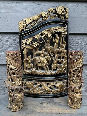 Chinese Antique Three Wood Carving  Panel Qing China Asian