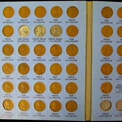 Complete Lincoln Wheat Penny Cent Collection Album 1941 - 1958 P D S Set 3a
