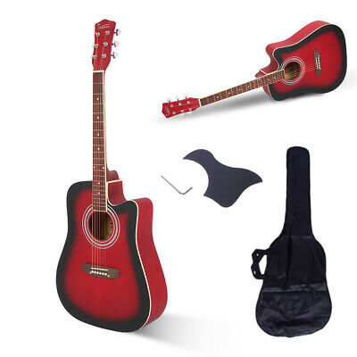 "Glarry 41"" AcousticSpruce Front Cutaway Folk Guitar for Beginners Students Red"